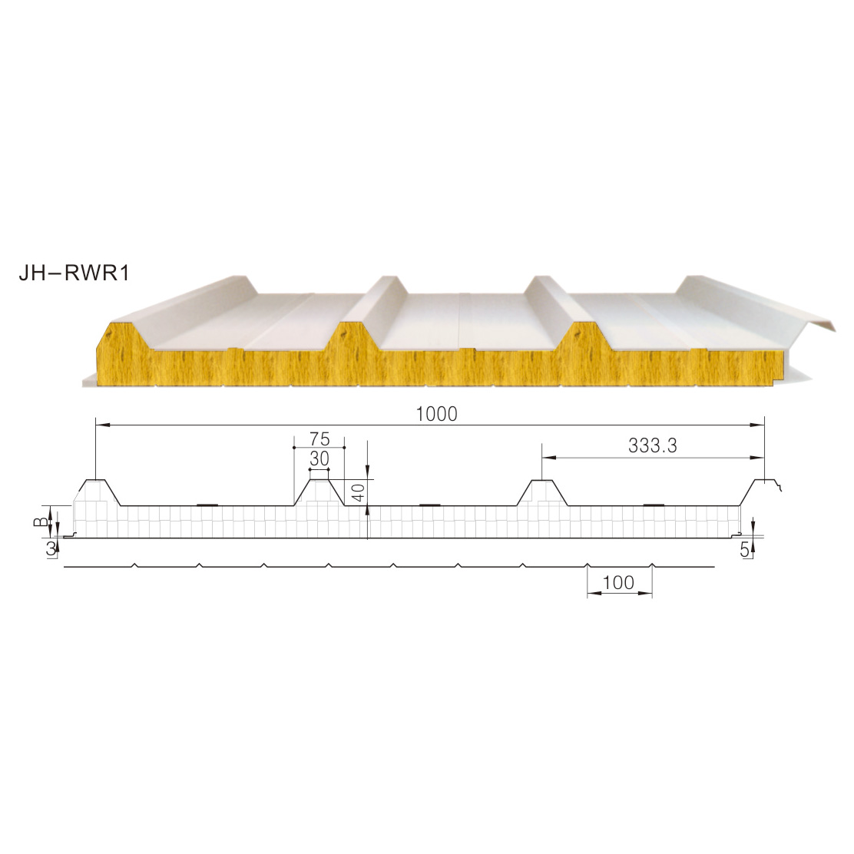 纯玻璃丝绵屋面夹芯板JH-RWR1