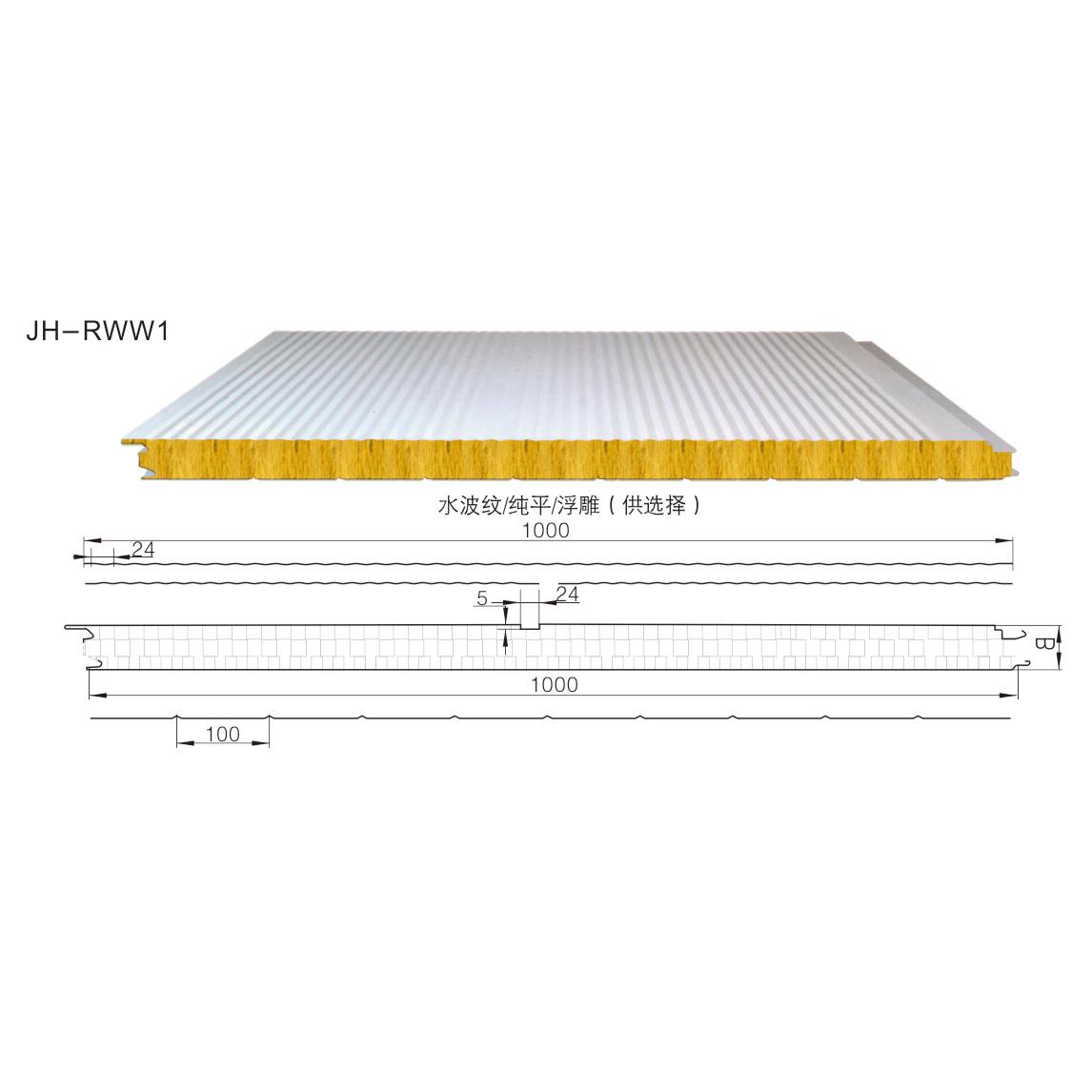 纯玻璃丝绵墙面夹芯板JH-RWW1