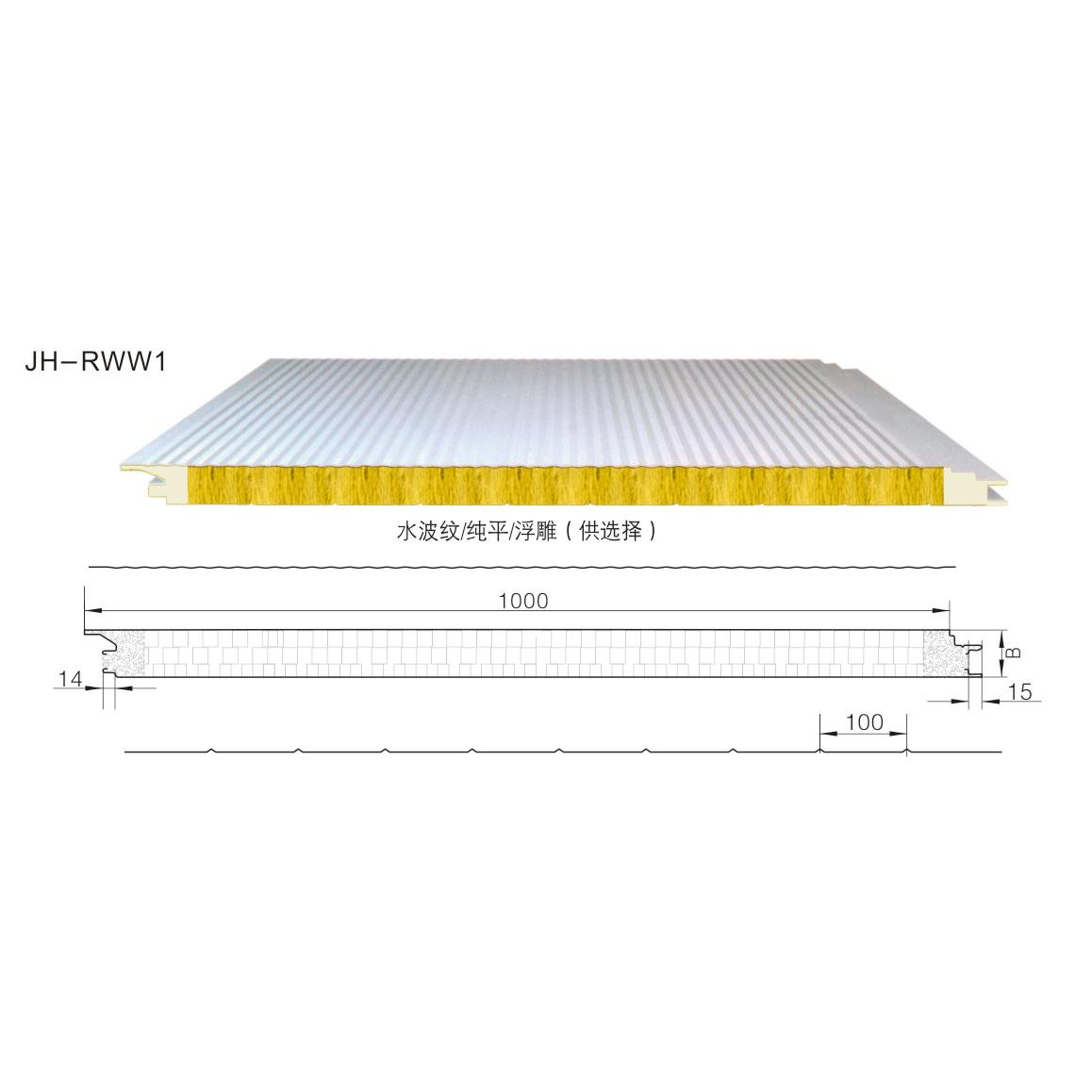 聚氨酯封边玻璃丝棉屋面夹芯板JH-RWW1